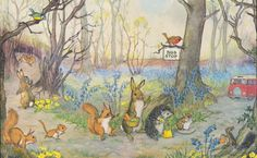 MOLLY BRETT - 'Catching the Bus', Rabbits, HEDGEHOG, Mice, Animals, Forest, Painting, Vintage Used Postcard, 1980s, Medici Society. $2.99, via Etsy.