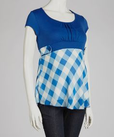 Take a look at this QT Maternity Blue Plaid Maternity Scoop Neck Top on zulily today!