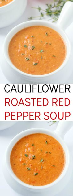 out-of-this-world delicious cauliflower roasted red pepper soup recipe! This will be your new favorite soup - it's ours!An out-of-this-world delicious cauliflower roasted red pepper soup recipe! This will be your new favorite soup - it's ours! Roasted Red Pepper Soup, Roasted Red Peppers, Cauliflower Roasted, Cauliflower Recipes, Roasted Califlower Soup, Healthy Cauliflower Soup, Roasted Chicken, Vegetarian Recipes, Cooking Recipes