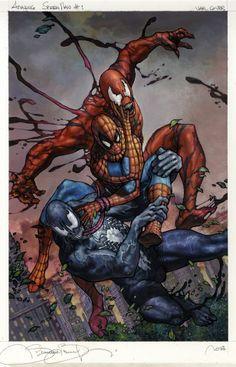 Spiderman vs Carnage and Venom by Simone Bianchi