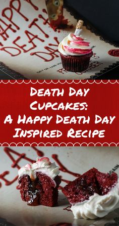 Celebrate the release of Happy Death Day with these Death Day Cupcakes, which are perfect for the most macabre of celebrations! Cupcake Recipes, Baking Recipes, Cupcake Cakes, Dessert Recipes, Cupcake Ideas, Recipes Dinner, Fall Recipes, Pasta Recipes, Crockpot Recipes