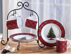 Red & Green Plates Cups Mugs CHRISTMAS Dessert Serving Set w/ Scroll Rack Stand