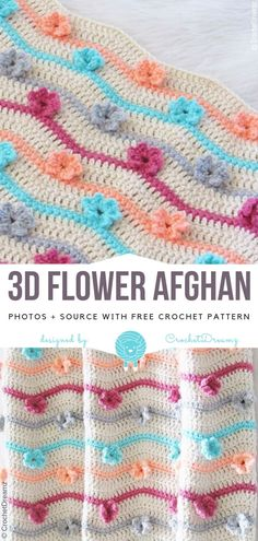Bloom Afghan Blanket Free Crochet Pattern This blooming afghan blanket is so beautiful. It seems candy and girly. This blanket is good for adorning your own home. The Bloom Afghan Blanket Free. Crochet Boarders, Crochet Circles, Crochet Stitches Patterns, Crochet Home, Free Crochet, Baby Afghan Crochet, Crochet Blankets, Baby Blankets, Cute Stitch