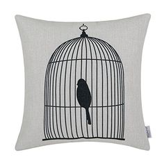 Euphoria Home Decorative Cushion Covers Pillows Shell Cotton Linen Blend Black Shadow Bird in Black Birdcage 18 X 18 >>> Find out more about the great product at the image link.