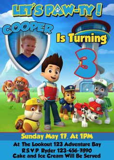 Download Paw Patrol Birthday Invitations for free just right