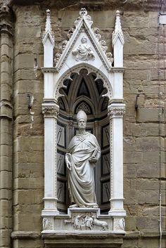 """""""Sant'Eligio"""" (Saint Eligius) by Nanni di Banco, 1415, Orsanmichele Museum, Florence"""