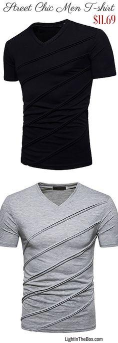 2d6fde63518c   13.25  Men s Basic   Street chic Slim T-shirt - Solid Colored V Neck  Black L   Short Sleeve   Spring   Summer