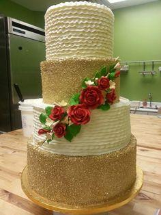 Gold/ruffle wedding cake