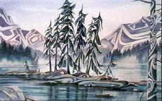 Spirit Island by Sue Coleman Native Art, Native American Art, Landscape Art, Landscape Paintings, Haida Art, Indian Art Paintings, Mountain Paintings, Coastal Art, Indigenous Art