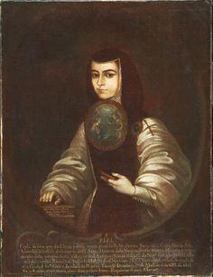 """Nicolás Enríquez de Vargas' """"Sister Juana Inés de la Cruz,"""" made after a self portrait, 18th century."""