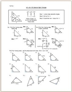 Worksheets Special Right Triangle Worksheet special right triangles worksheets geometry ideas pinterest these notes are for 45 90 i give a