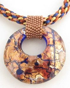 Kumihimo Necklace with Copper and Blue Murano Glass by Luckysammy, $75.00