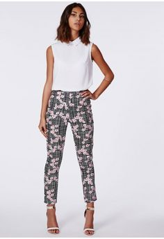 Anneka Floral Check Trousers - Trousers - Missguided