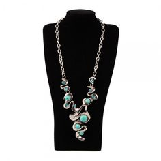 Elegant Swirl Turquoise and Rhinestone Silver Necklace. Starting at $3 on Tophatter.com!