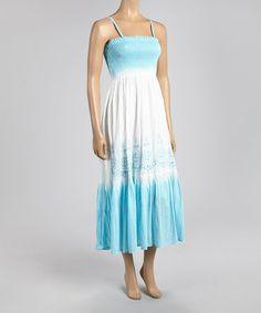 Love this Blue & White Shirred Tie-Dye Maxi Dress on #zulily! #zulilyfinds