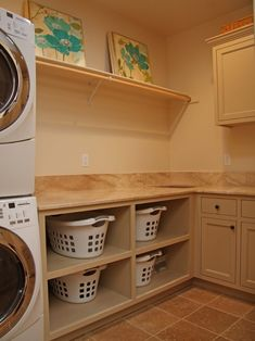 From Houzz - Best idea for people with kids. Swap out a hamper with dirty clothes for a hamper with clean clothes