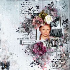 Smile - mixed media layout and video tutorial by Ayeeda