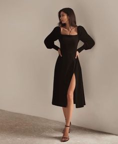 Cute Casual Outfits, Pretty Outfits, Pretty Dresses, Beautiful Dresses, Black Dress Outfits, Black Midi Dress, Fancy Black Dress, Little Black Dress Outfit, All Black Dresses