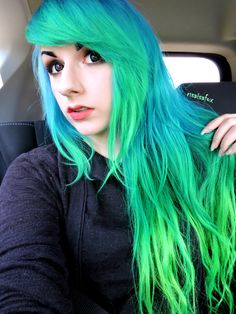 """risaisafox: """" Used Arctic Fox Hair Color's Poseidon and Aquamarine for the Blue and Teal c: Its more Royal Blue in person but its also faded a bit and in the front the royal blue is only at my. Dark Ombre Hair, Ombre Hair Color, Mint Hair, Neon Hair, Yellow Hair, Aqua Hair, Two Toned Hair, Arctic Fox Hair Color, Beautiful Hair Color"""