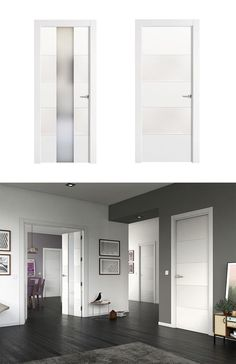 Puerta de interior con cristal lucerna lacada blanca doble for Puertas interiores blancas