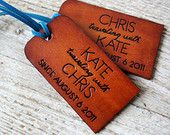 Bride and Groom Luggage Tags - SET of TWO Genuine Leather Custom - Mr and Mrs Luggage Tags - Bride and Groom - Bridal Party Wedding Gifts