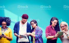 Studentów Nauka edukacja radosne Media społecznościowe royalty-free stock photo