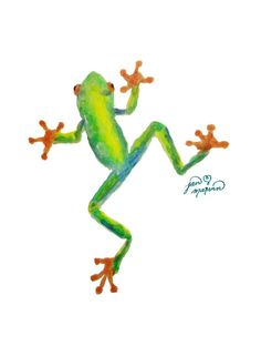 Red eyed tree frog, print of watercolor painting, Jan Marvin wall art print, print, nursery, frog poster