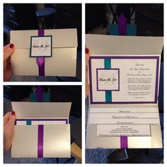 Wedding invitation diy #blueandpurple