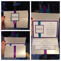 Wedding invitation diy #blueandpurple