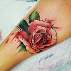 fascinating watercolor flower tattoo on sleeve