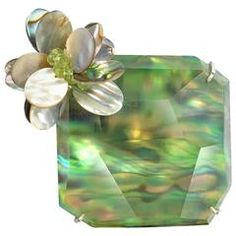 Donna Brennan Paura Shell and Lucite Brooch with Peridot Clusters