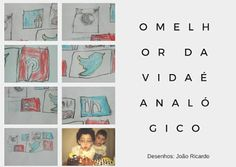 o melhor da vida é analógico ícones redes sociais desenhados à mão child hand drawn social media icons