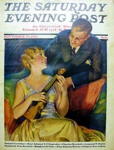 Flirting with a Ukelele - Cover photo, Saturday Evening Post, circa November 19, 1927 - excellent article with photos detailing true history of the ukelele