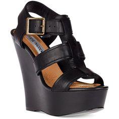Steve Madden Women's Shoes, Wanting Platform Wedge Sandals ($99) found on Polyvore