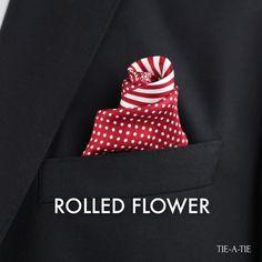 "50 ways to style your pocket squares. Today's fold: ""The Rolled Flower"". Click image for folding instructions. 50 ways to style your pocket squares. Today's fold: ""The Rolled Flower"". Click image for folding instructions. Pocket Square Folds, Pocket Square Styles, Men's Pocket Squares, Modern Mens Fashion, Men's Fashion, Der Gentleman, Lapel Flower, Elegant Man, Colorful Socks"