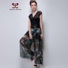 Brand Original Design Women Pants Printed Pantalones Mujer Loose Style Women Wide Leg Pants Empire Pantalon Femme With Sash Belt