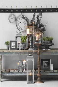 industrial side table and candles...Stuen - klassisk » Lene Bjerre