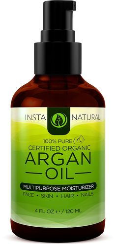 InstaNatural Organic Argan Oil For Hair, Face & Skin - BEST 100% Pure & Certified Organic Cold Pressed Moroccan Argan Oil - For Acne, Nails, Dry Scalp, Split Ends, Stretch Marks, Body & More - 4OZ