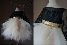 MILLY Black Lace ChampagneTulle Flower Girl Dress Vintage