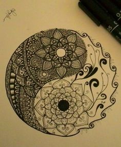 art, design, doodle, flower, mandala, yinyang, zentangle, First Set on Favim.com, zendoodle