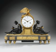 A PATINATED AND GILT-BRONZE MANTEL CLOCK ATTRIBUTED TO FRANÇOIS RÉMOND, LOUIS XVI, AFTER LOUIS-SIMON BOIZOT, THE DIAL SIGNED MANIÈRE / A PARIS