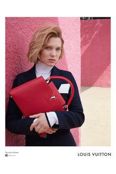 First named a brand ambassador in January 2016, Lea Seydoux poses for Louis Vuitton's Spirit of Travel campaign