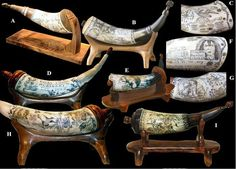 """Scrimshaw Powder Horns: with my links to """"How To Build Your Own Powder Horn"""", and """"How to Scrimshaw"""""""
