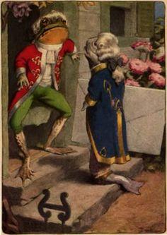 """Bessie Pease Gutmann, Illustrator, """"It was opened by another footman"""", by Bessie  Pease Gutmann, 1907, """"Alice's Adventures in Wonderland."""