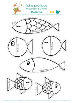 Aprilscherz Poissons d'avril - Sealife Diy For Kids, Crafts For Kids, Arts And Crafts, Art Projects, Sewing Projects, Fish Template, Paper Art, Paper Crafts, Fish Crafts