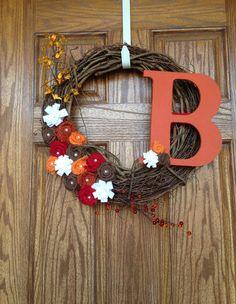 18 inch Fall Burlap Grapevine Wreath, Autumn Burlap Wreath, Burlap Flower Wreath, Monogrammed Fall Burlap Wreath