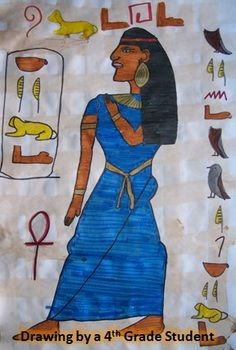 One of my 4th grade kids drew this ancient Egyptian on fake papyrus when I taught the class about ancient Egypt.