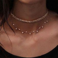 FULLIN Choker Necklace Women Sexy Double Layer Beaded Chain Star Tassel Choker Necklace Woman Jewelry