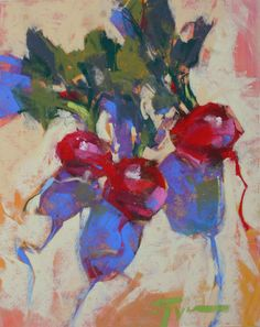 """Radish Ruckus"" by Jen Evenhus© - ten minute painting, 8x10"" pastel"