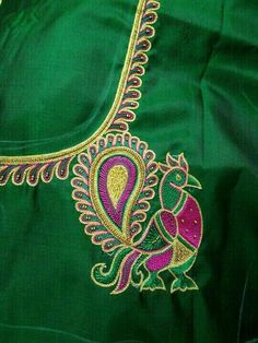 Peacock Blouse Designs, Peacock Embroidery Designs, Saree Blouse Neck Designs, Simple Blouse Designs, Bridal Blouse Designs, Peacock Design, Sari Design, Maggam Work Designs, Hand Work Blouse Design